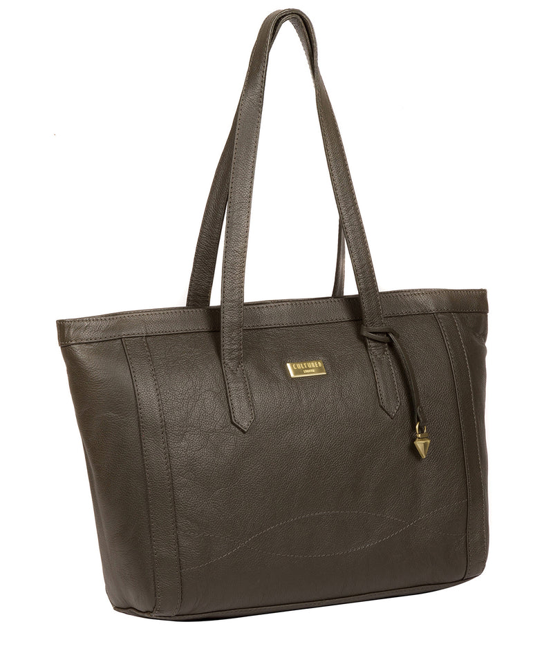 'Farah' Olive Leather Tote Bag image 5