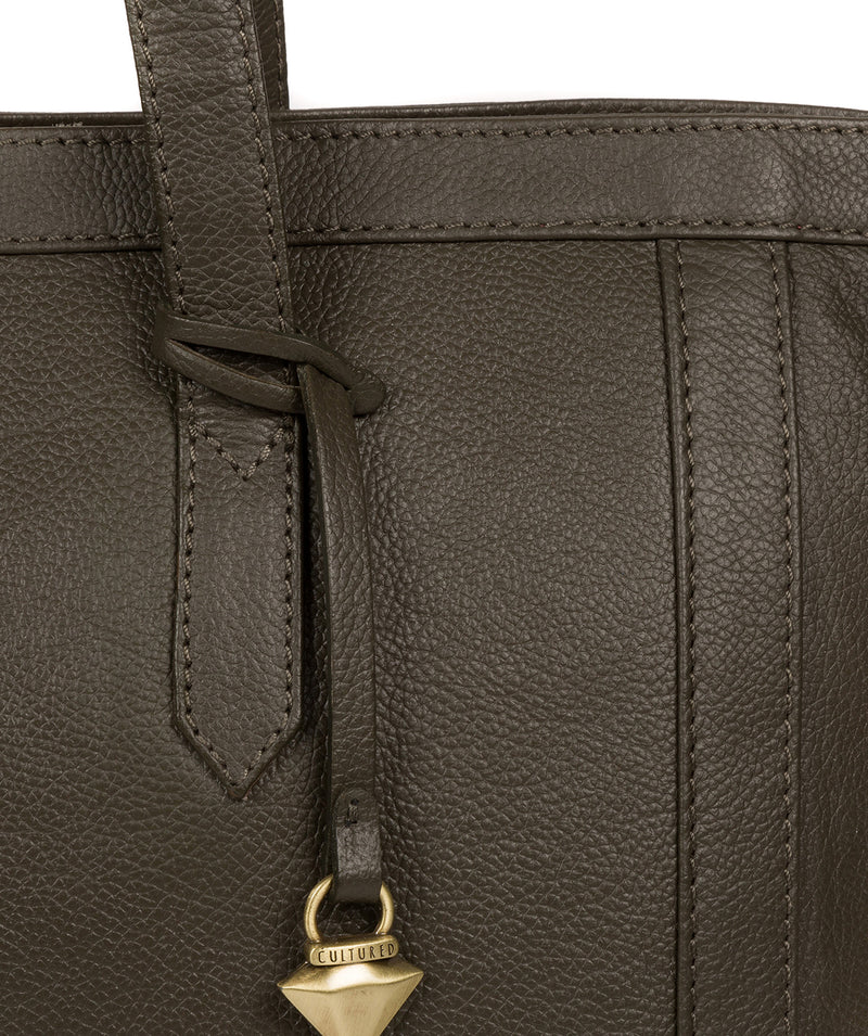 'Farah' Olive Leather Tote Bag image 6