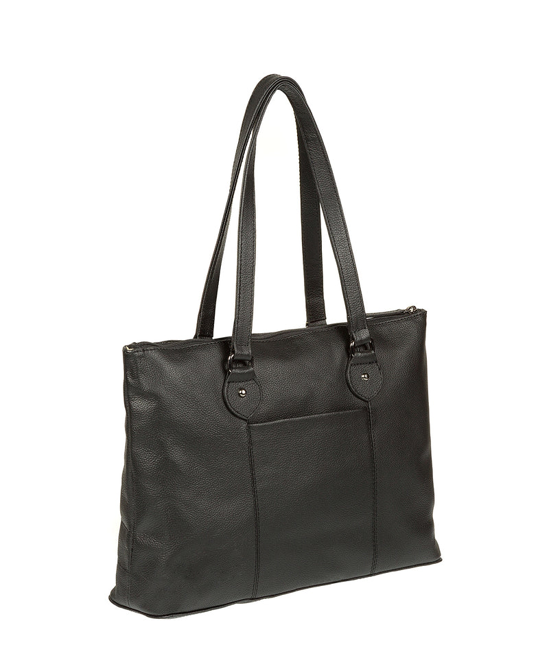 'Ivy' Black Real Leather Tote Bag