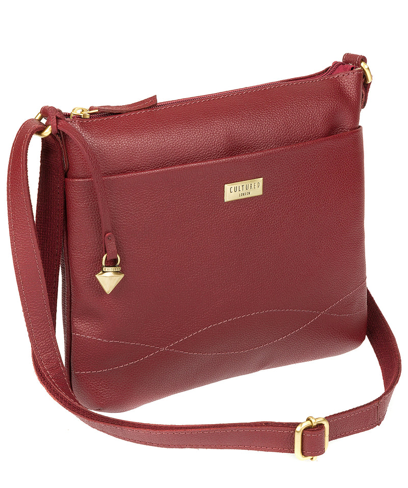 'Gigi' Ruby Red Real Leather Cross-Body Bag