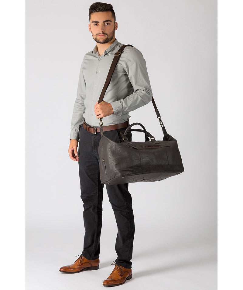'Toure' Dark Brown Buffalo Leather Holdall image 2