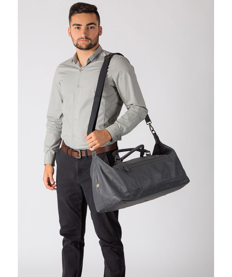 'Toure' Dark Grey Leather Messenger Bag image 2