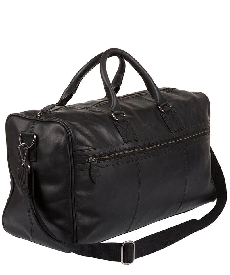 'Expedition' Black Leather Holdall