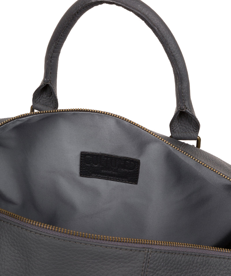 'Expedition' Dark Grey Leather Holdall image 4