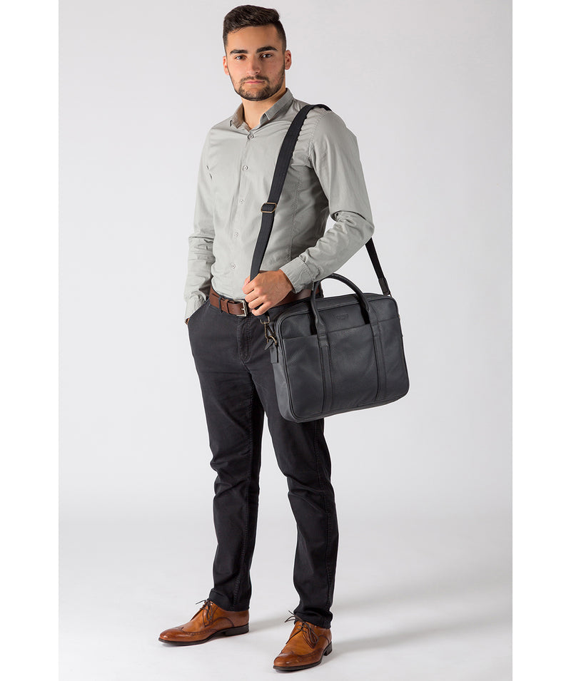 'Assignment' Dark Grey Leather Work Bag Pure Luxuries London