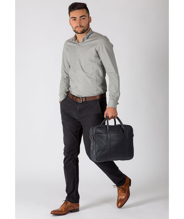 'Assignment' Navy Leather Workbag Pure Luxuries London