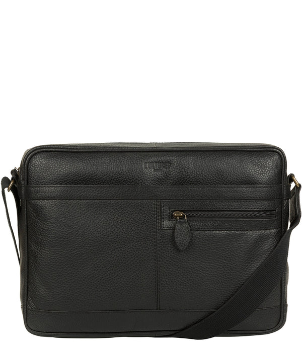 'Trek' Black Leather Messenger Bag image 1
