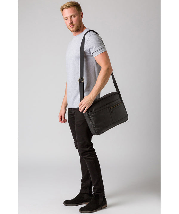 'Trek' Black Leather Messenger Bag image 2