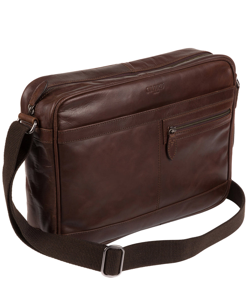 'Trek' Dark Brown Leather Messenger Bag  image 3