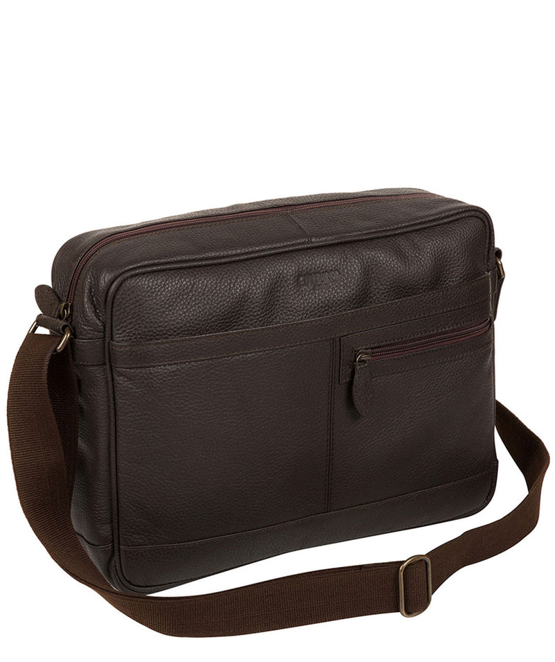 'Trek' Dark Brown Leather Messenger Bag