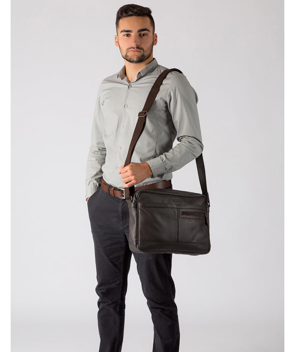 'Trek' Dark Brown Leather Messenger Bag image 2