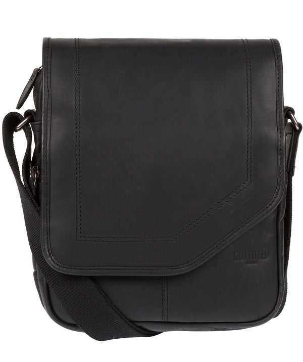 'Trip' Black Small Leather Despatch Bag Pure Luxuries London