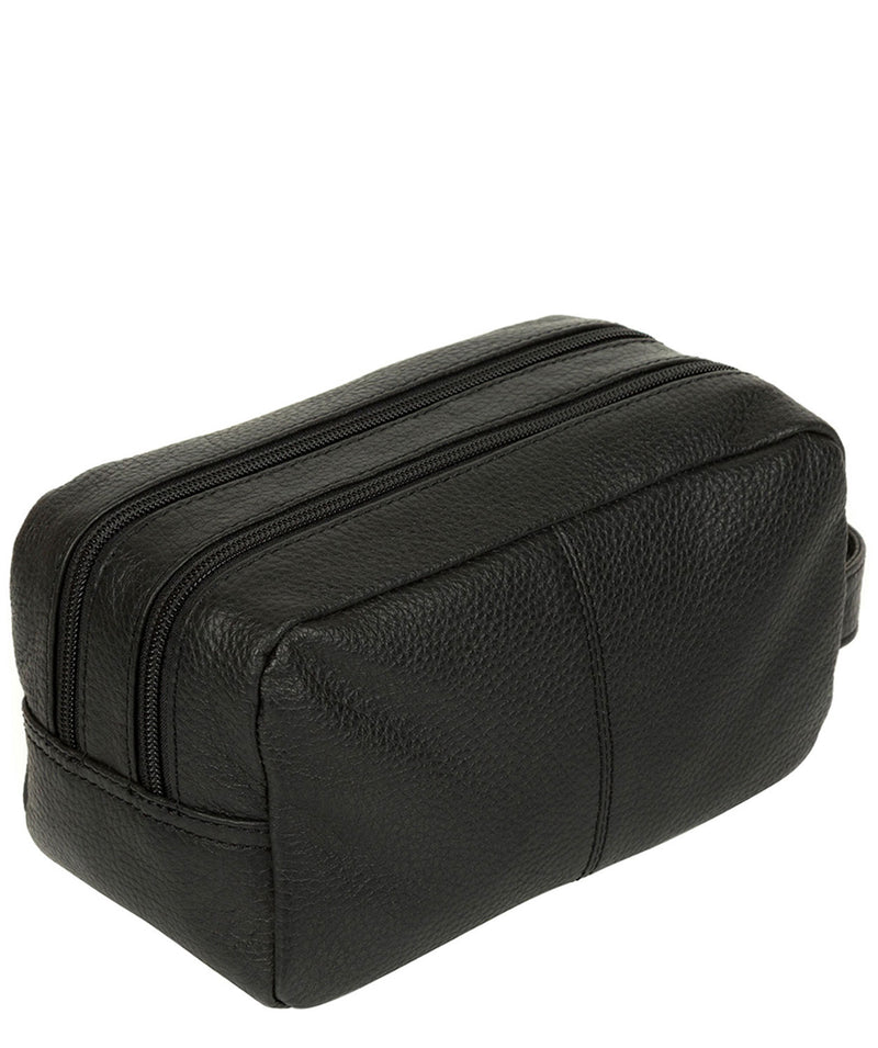 'Creek' Black Leather Wash Bag