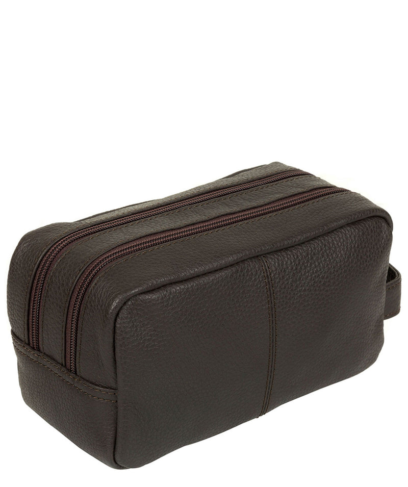 'Creek' Dark Brown Leather Wash Bag
