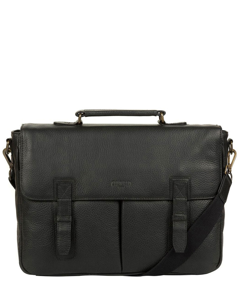 'Task' Black Leather 14-Inch Laptop Briefcase