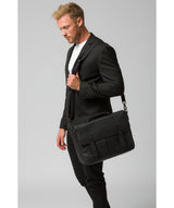 'Task' Black Leather 14-Inch Laptop Briefcase image 2