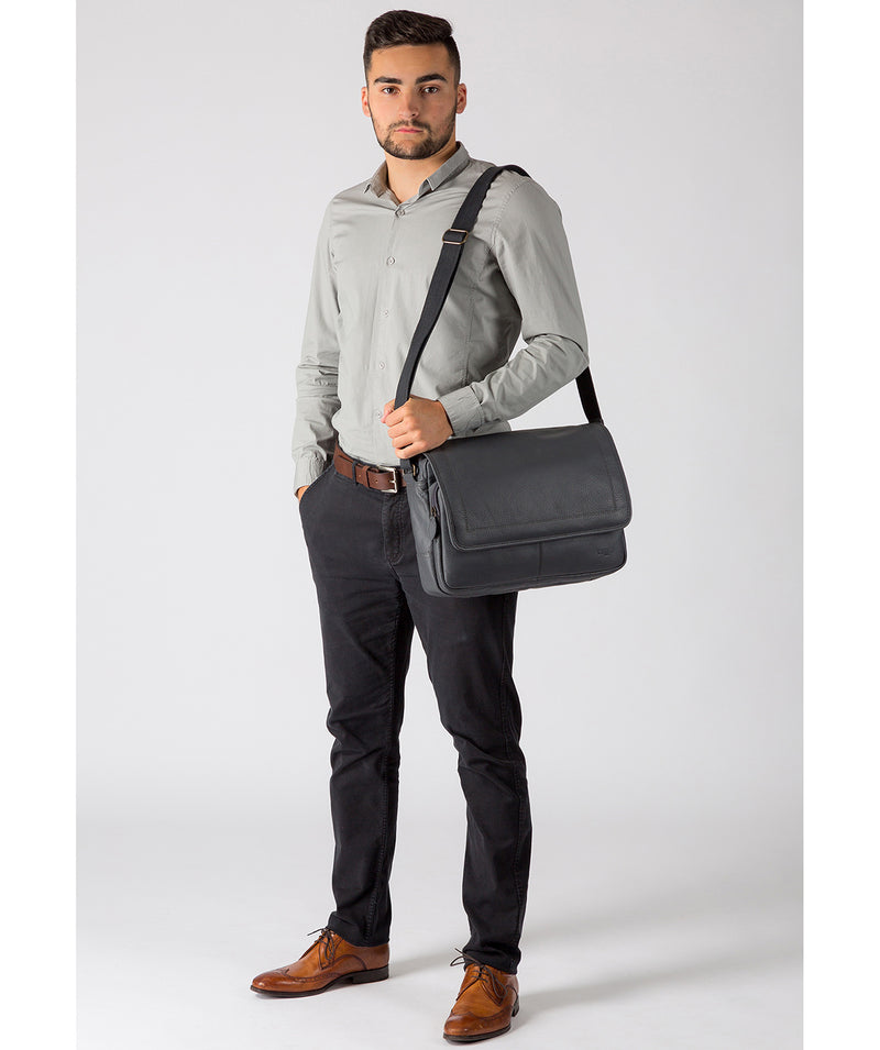 'Impact' Dark Grey Leather Messenger Bag Pure Luxuries London
