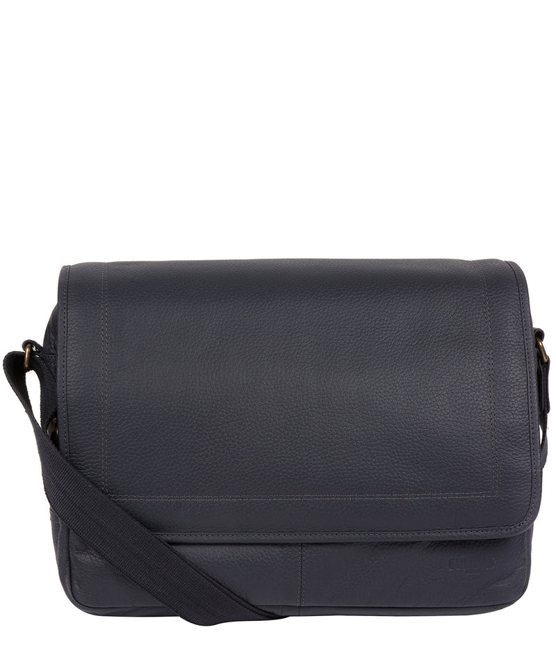 'Impact' Navy Leather Messenger Bag image 1