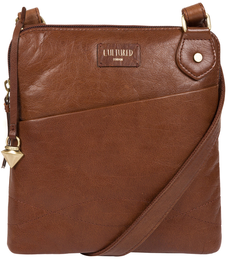 'Abberton' Conker Brown Leather Cross-Body Bag image 1