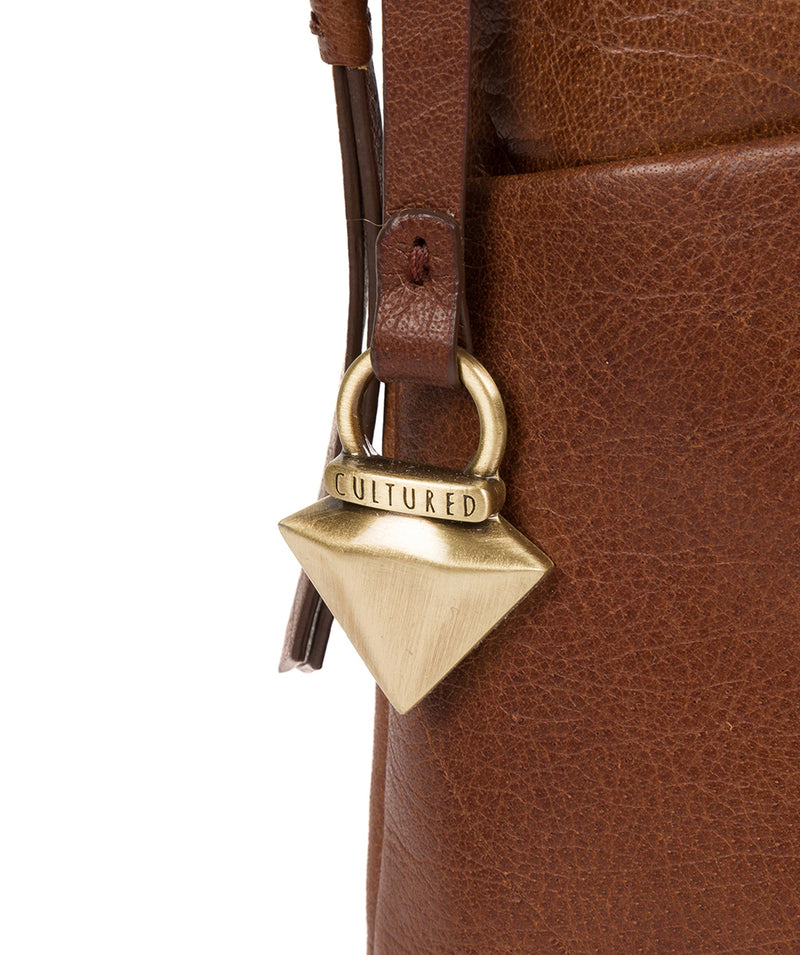'Abberton' Conker Brown Leather Cross-Body Bag image 7