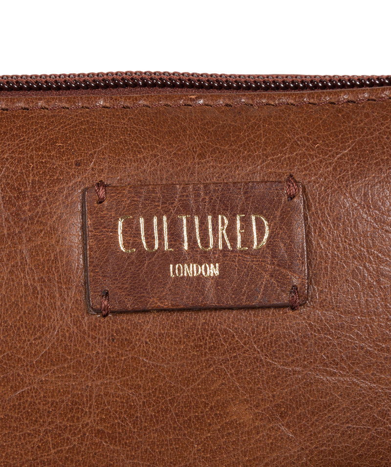 'Abberton' Conker Brown Leather Cross-Body Bag image 8