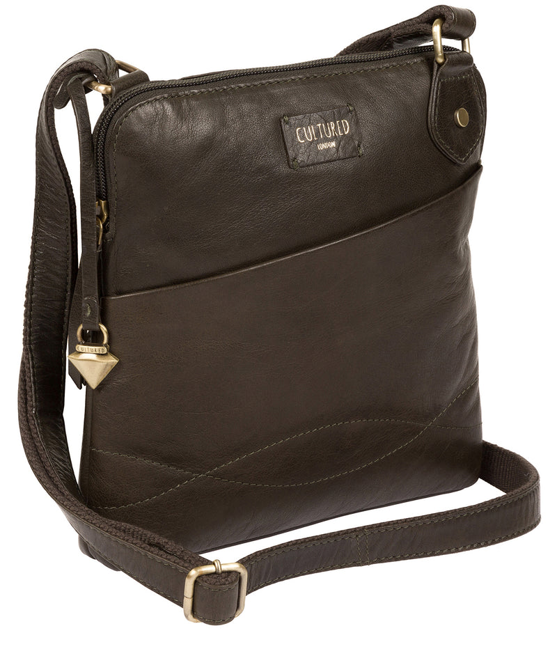 'Abberton' Olive Leather Cross Body Bag