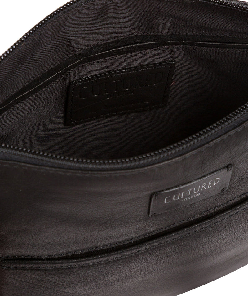 'Gainford' Black Leather Cross Body Bag image 5