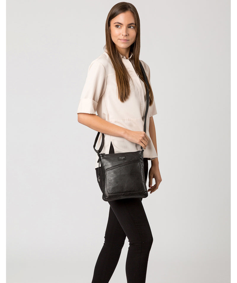 'Gainford' Black Leather Cross Body Bag image 2