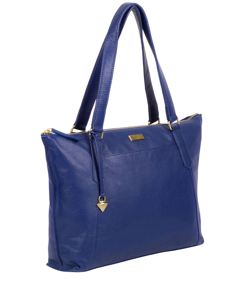 'Isabella' Mazarine Blue Leather Tote Bag image 3