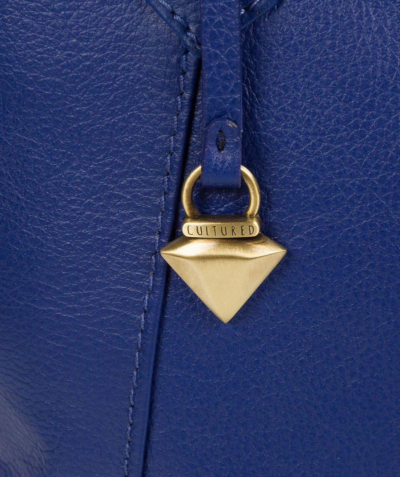 'Isabella' Mazarine Blue Leather Tote Bag image 6