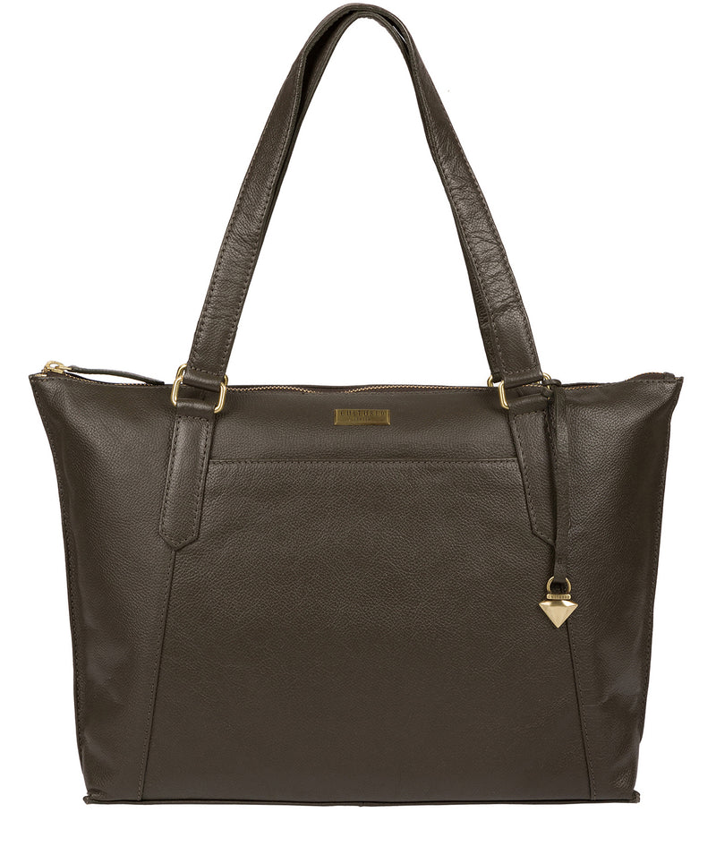 'Isabella' Olive Leather Tote Bag image 1