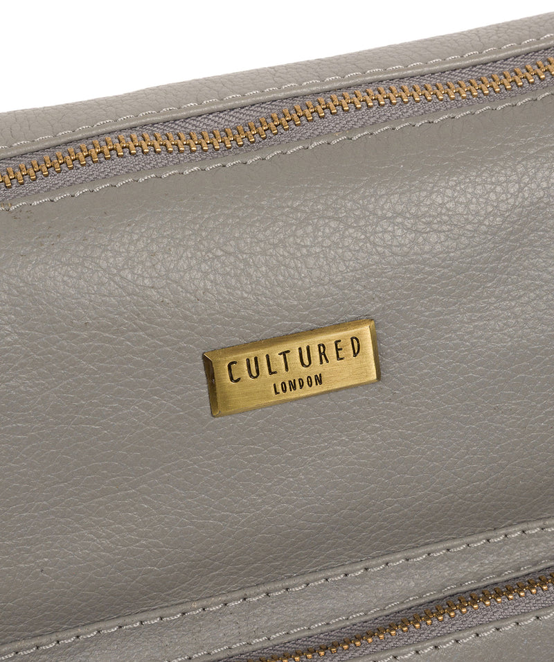 'Olivia' Silver Grey Leather Shoulder Bag Pure Luxuries London