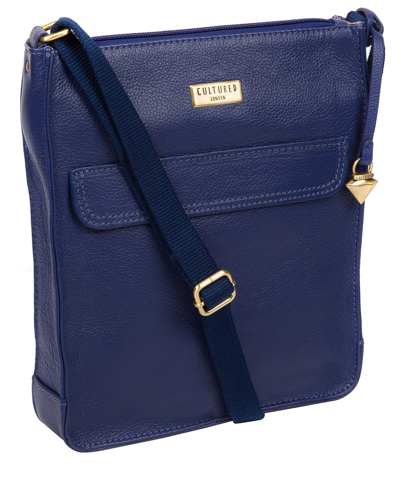 'Sarah' Mazarine Blue Leather Cross Body Bag image 5
