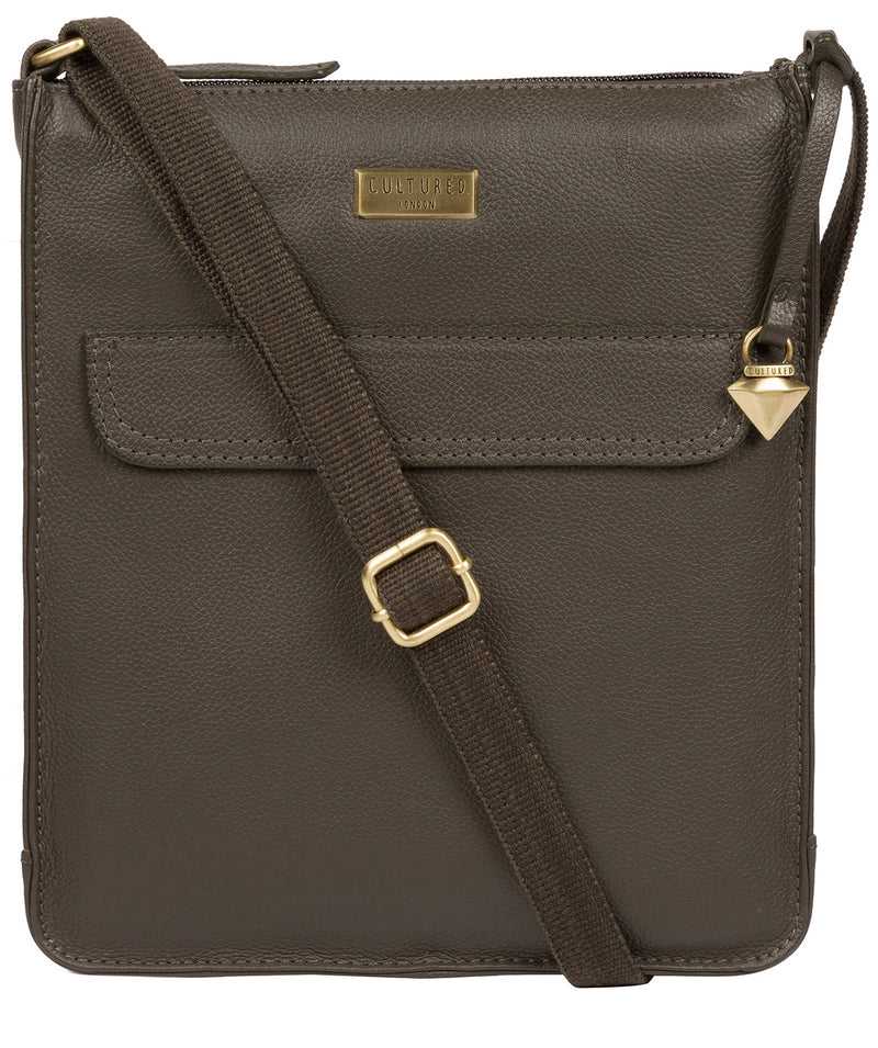 'Sarah' Olive Leather Cross Body Bag  image 1