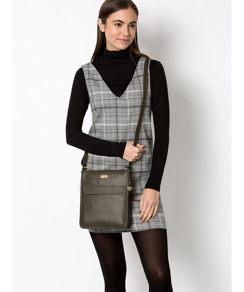 'Sarah' Olive Leather Cross Body Bag  image 2