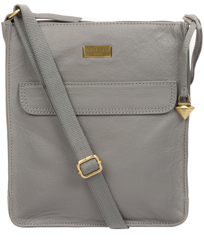'Sarah' Silver Grey Leather Cross Body Bag  image 1
