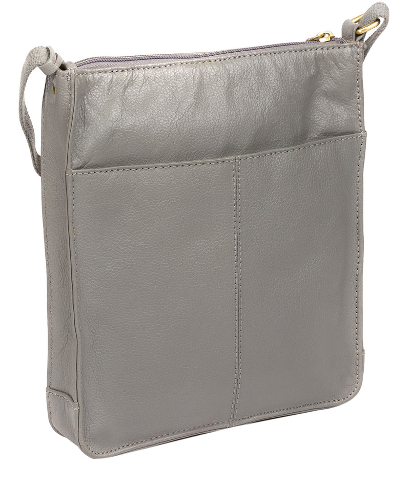 'Sarah' Silver Grey Leather Cross Body Bag  image 3