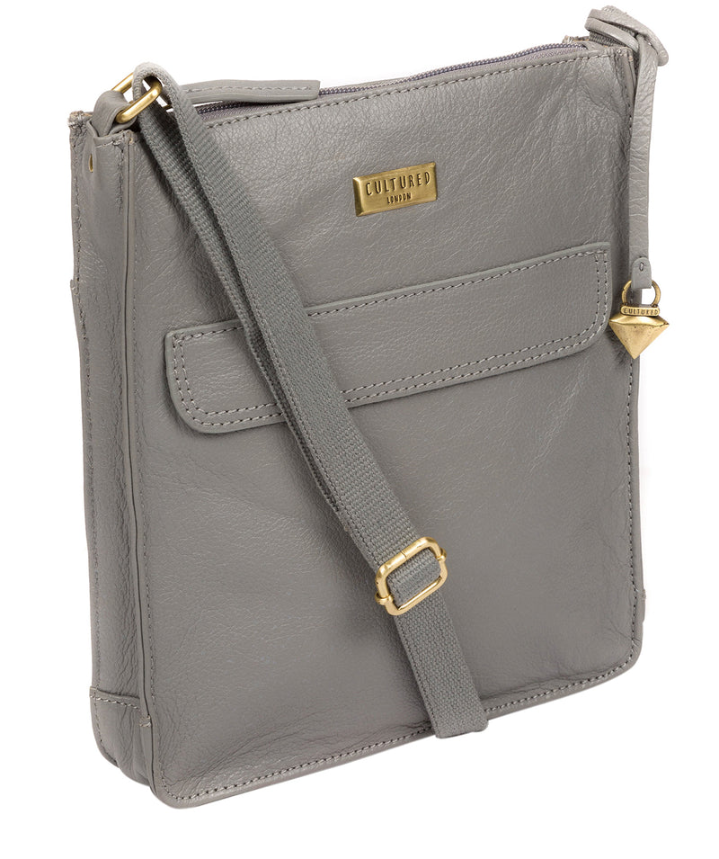 'Sarah' Silver Grey Leather Cross Body Bag  image 5