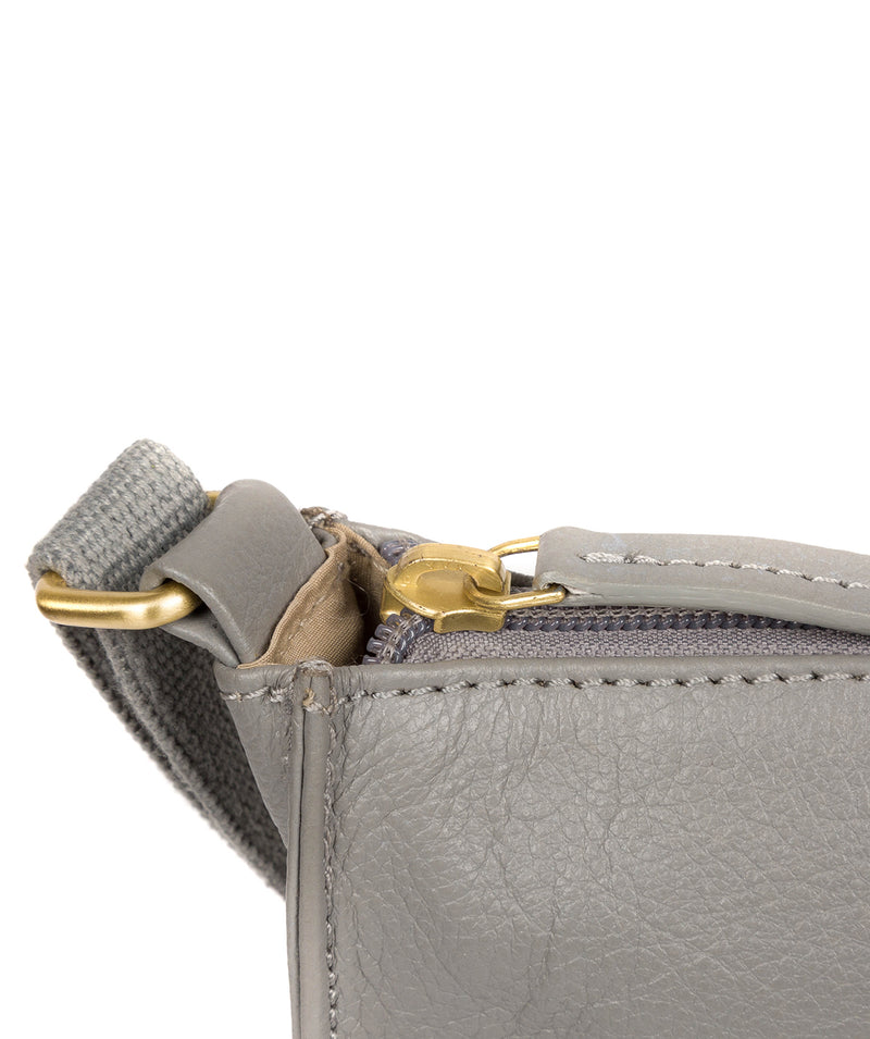 'Sarah' Silver Grey Leather Cross Body Bag  image 6