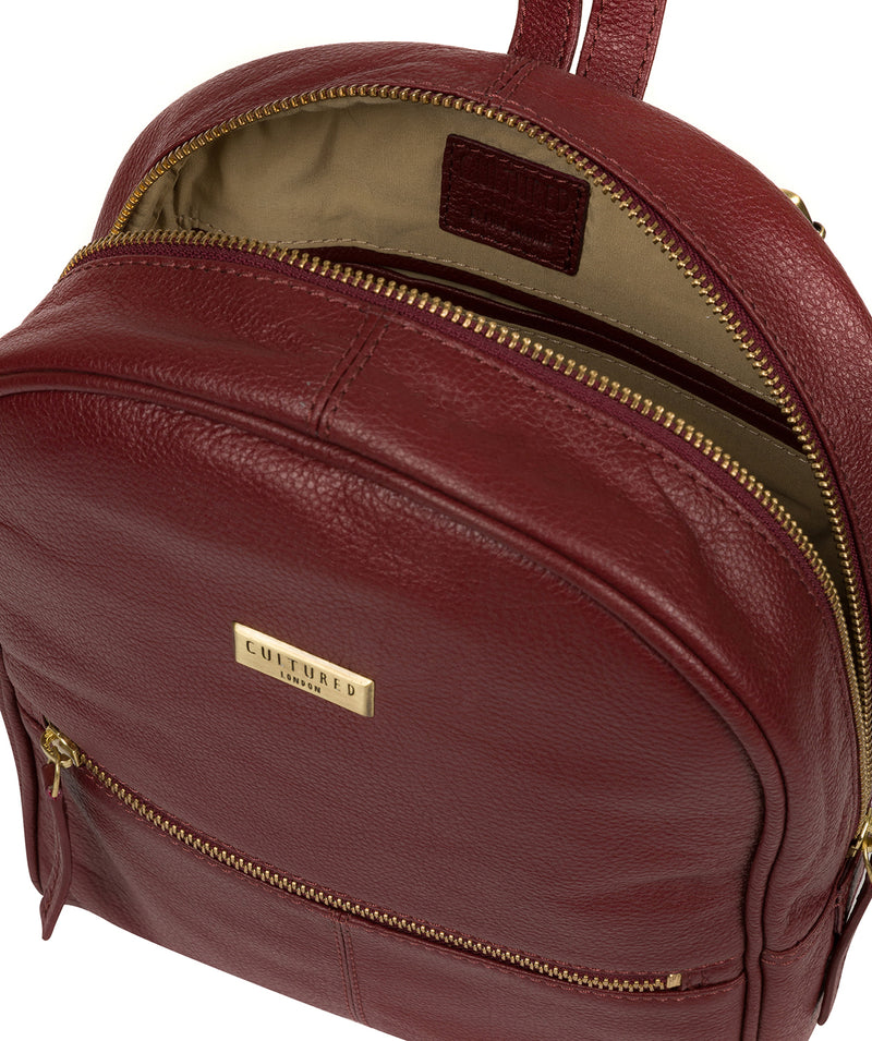 'Alyssa' Ruby Red Leather Backpack  image 4