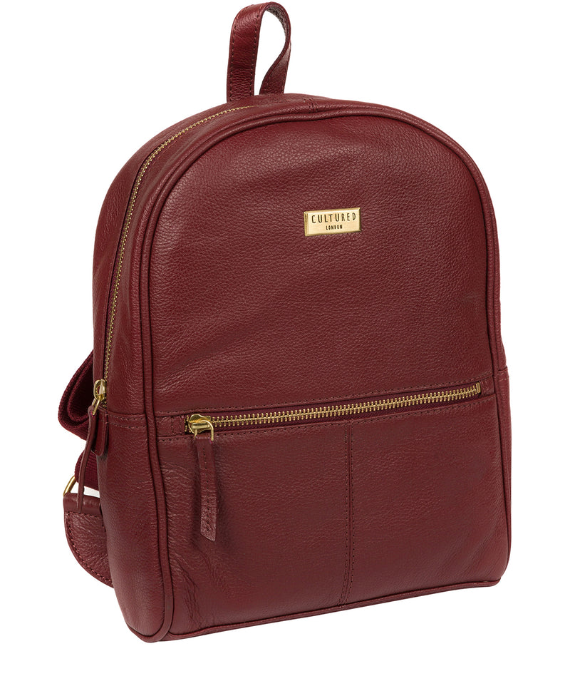 'Alyssa' Ruby Red Leather Backpack  image 6
