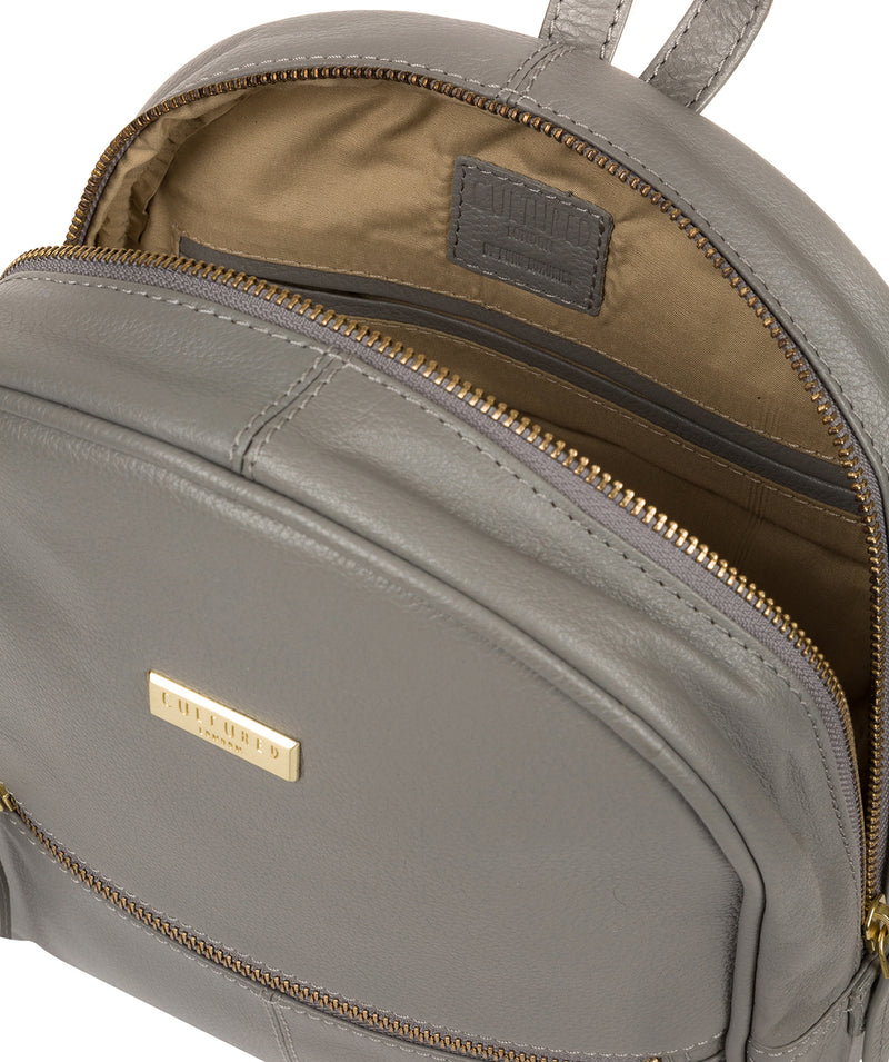 'Alyssa' Silver Grey Leather Backpack  image 4