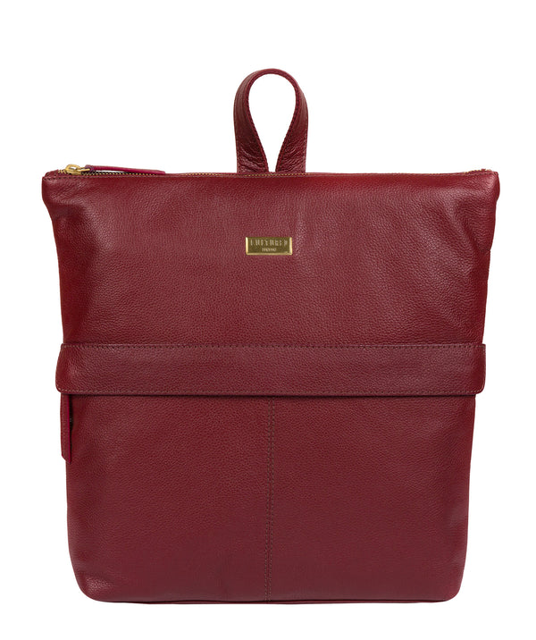 'Jada' Ruby Red Leather Backpack