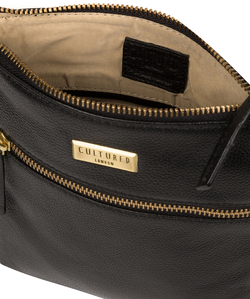 'Brooke' Black Leather Cross Body Bag image 4
