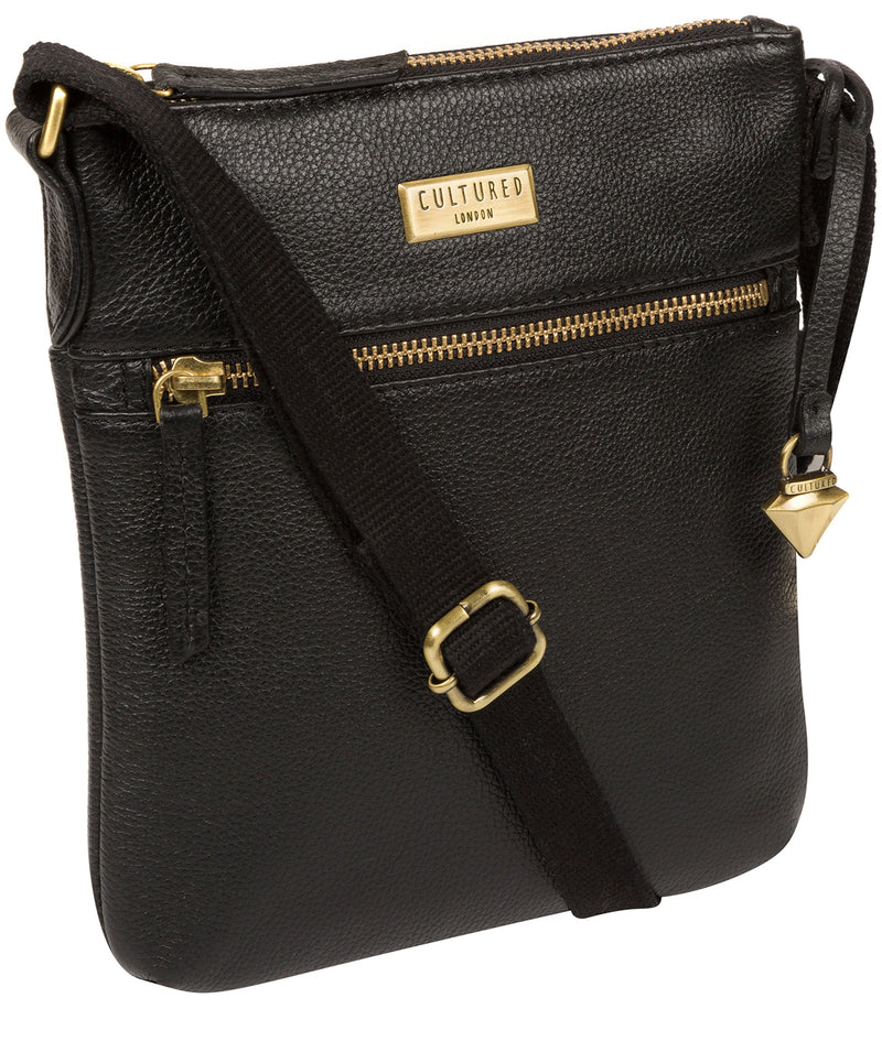 'Brooke' Black Leather Cross Body Bag image 6