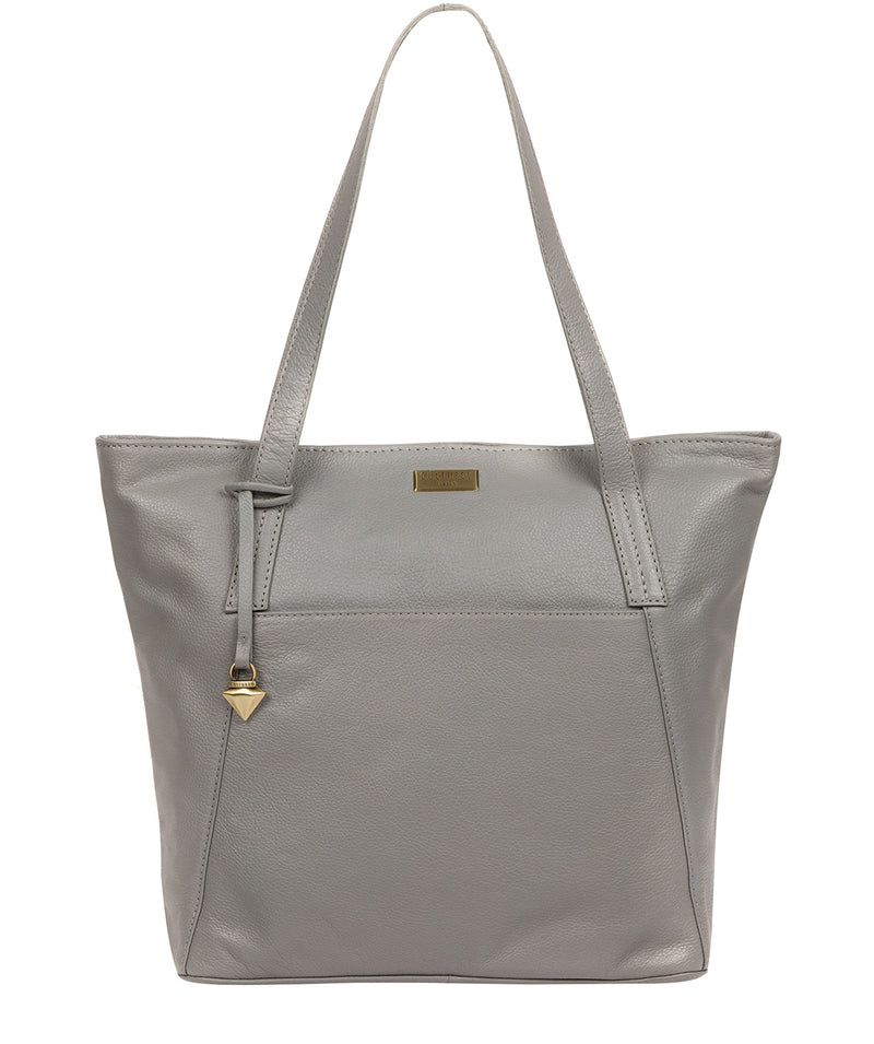 'Makayla' Silver Grey Leather Tote Bag image 1
