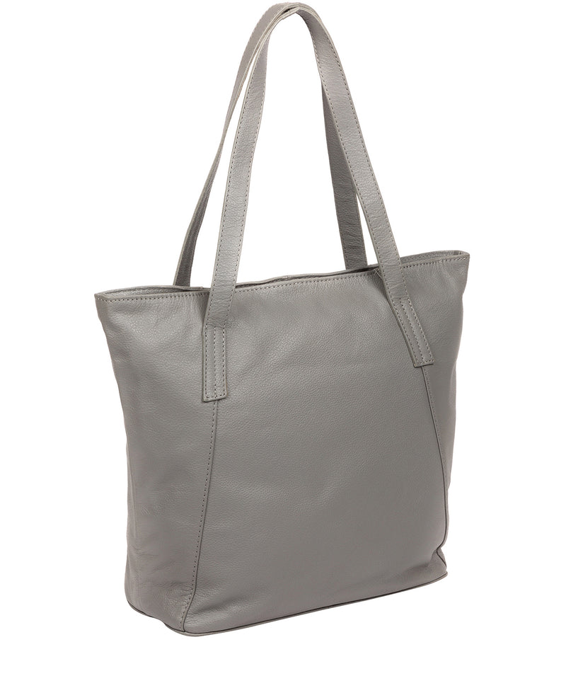 'Makayla' Silver Grey Leather Tote Bag image 3