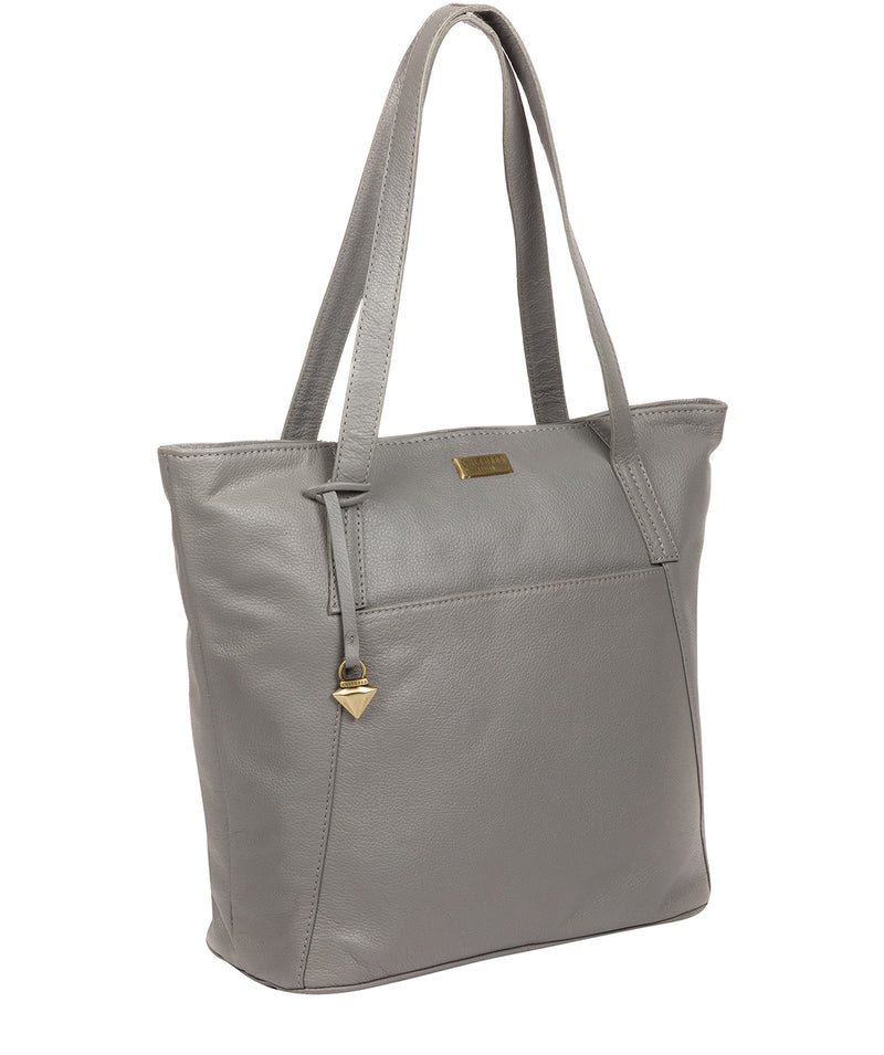 'Makayla' Silver Grey Leather Tote Bag image 6
