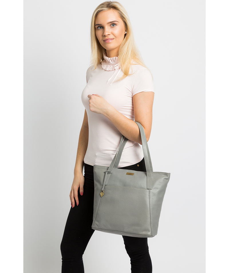 'Makayla' Silver Grey Leather Tote Bag image 2