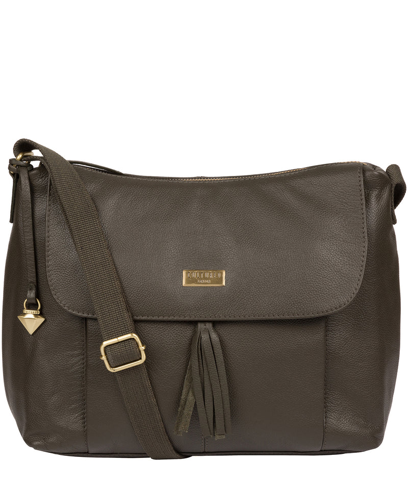 'Lily' Olive Leather Cross Body Bag image 1